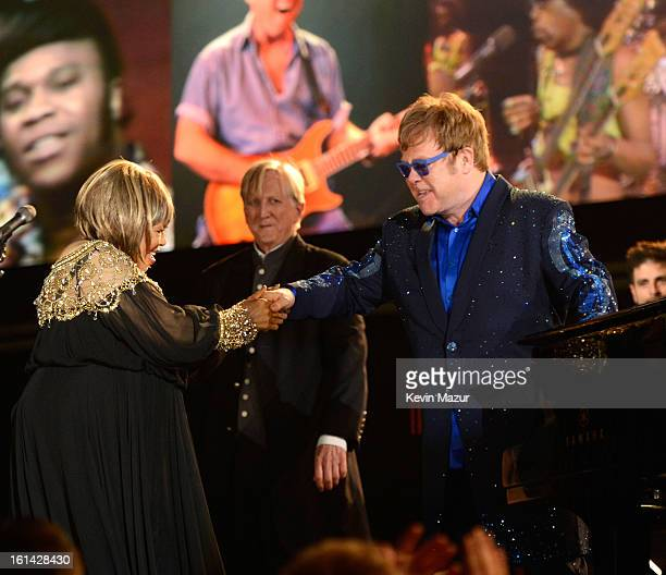 Mavis Staples and Elton John perform onstage during the 55th Annual GRAMMY Awards at STAPLES Center on February 10 2013 in Los Angeles California