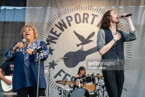 Mavis Staples and Hozier perform during If I Had A Song closing the 60th annual Newport Folk Festival 2019 at Fort Adams State Park on July 28 2019...