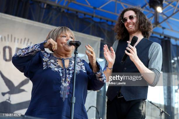 Mavis Staples and Hozier perform during the If I Had A Song tribute set during day three of the 2019 Newport Folk Festival at Fort Adams State Park...