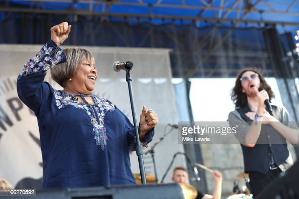 """Mavis Staples and Hozier perform during the """"If I Had A Song"""" tribute set during day three of the 2019 Newport Folk Festival at Fort Adams State Park..."""