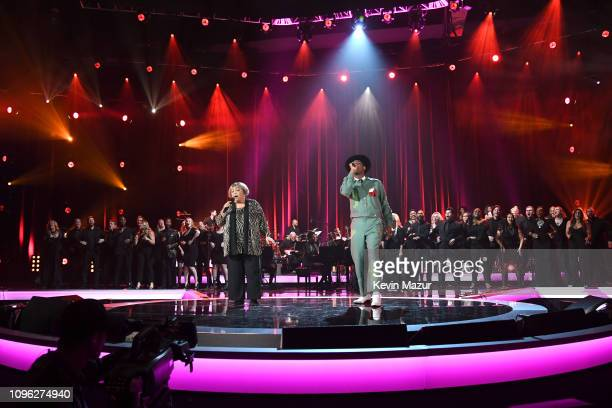 Mavis Staples and Leon Bridges perform onstage during MusiCares Person of the Year honoring Dolly Parton at Los Angeles Convention Center on February...