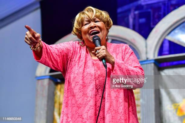 Mavis Staples performs during the 2019 New Orleans Jazz Heritage Festival 50th Anniversary at Fair Grounds Race Course on May 02 2019 in New Orleans...
