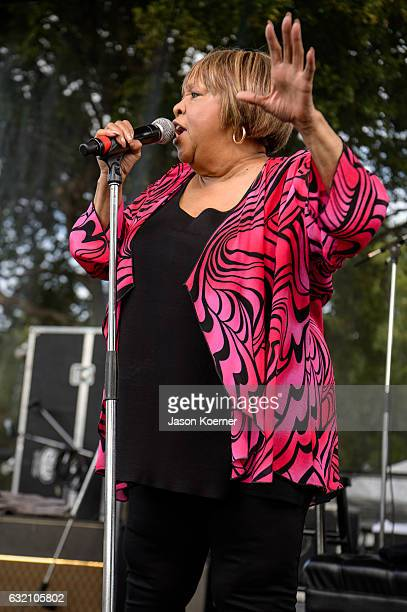 Mavis Staples performs on stage at Mizner Park Amphitheater on January 15 2017 in Boca Raton Florida