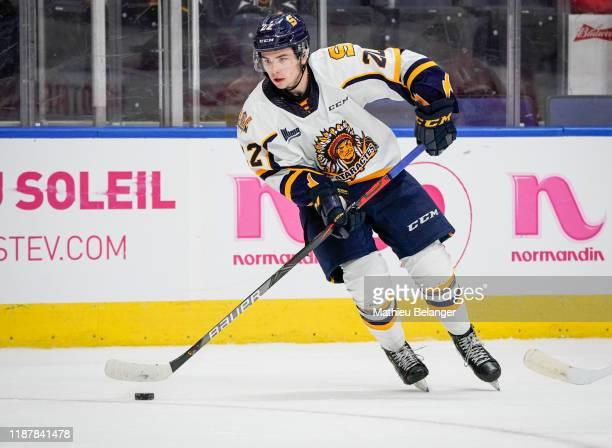 Mavrik Bourque of the Shawinigan Cataractes skates during his QMJHL hockey game at the Videotron Center on October 26, 2019 in Quebec City, Quebec,...
