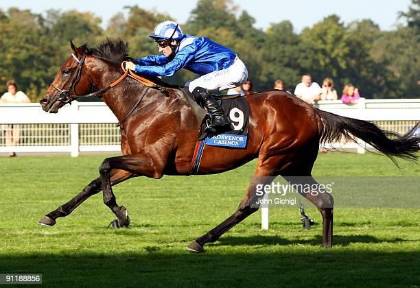 Mawatheeq ridden by Richard Hills wins The Grosvenor Casinos Cumberland lodge Stakes at Ascot Racecourse on September 27 2009 in Ascot England