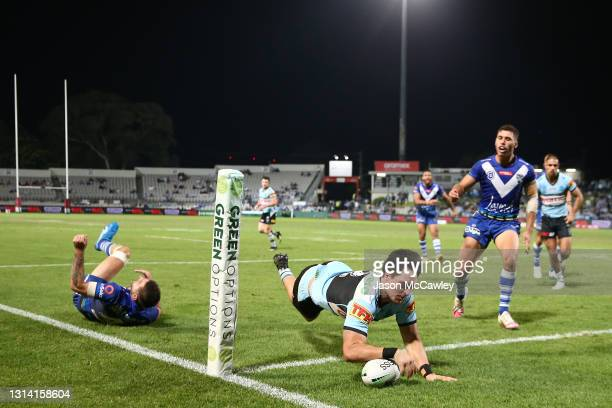 Mawene Hiroti of the Sharks scores a try during the round seven NRL match between the Cronulla Sharks and the Canterbury Bulldogs at Netstrata...