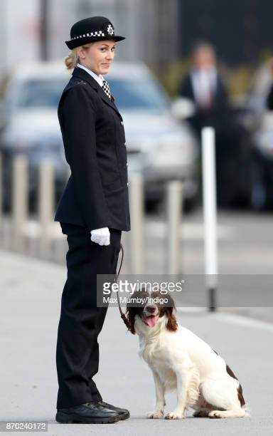 'Max' a Springer Spaniel police dog and his handler PC Norgrove attend the Metropolitan Police Service Passing Out Parade for new recruits at the...