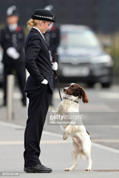 'Max' a Springer Spaniel police dog jumps up and paws at his handler PC Norgrove during the Metropolitan Police Service Passing Out Parade for new...