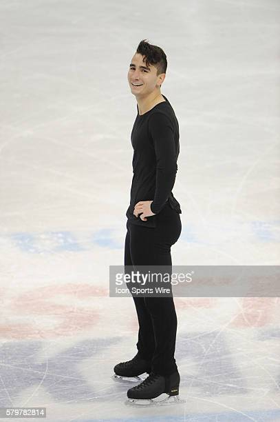 JANUARY 24 2016 Max Aaron reacts after competing in the men's Free Skate Program during the Prudential US Figure Skating Championships at the Xcel...