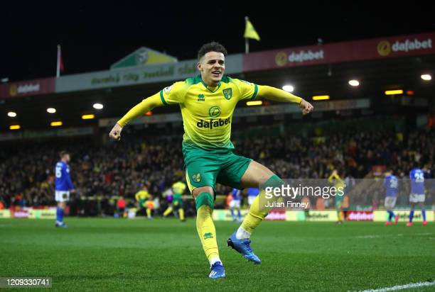 Max Aarons of Norwich City celebrates after Jamal Lewis scores his sides first goal during the Premier League match between Norwich City and...