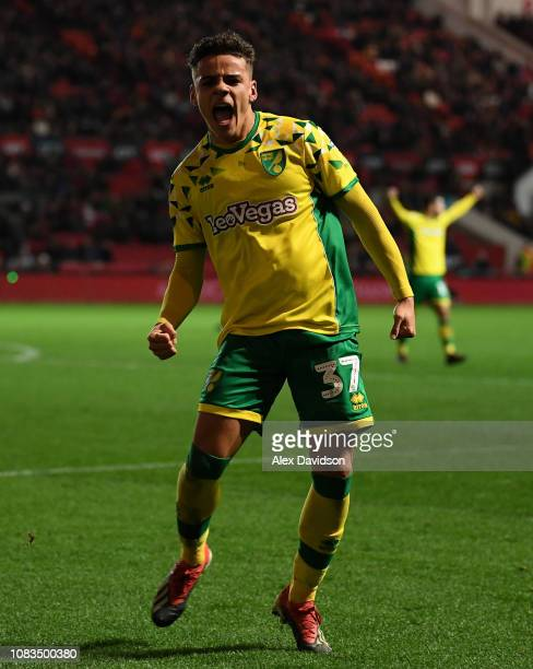 Max Aarons of Norwich City celebrates his goal during the Sky Bet Championship match between Bristol City and Norwich City at Ashton Gate on December...