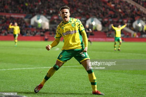 Max Aarons of Norwich City celebrates scoring his sides second goal during the Sky Bet Championship match between Bristol City and Norwich City at...