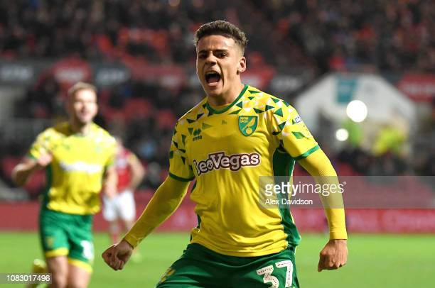 Max Aarons of Norwich City celebrates scoring his teams second goal during the Sky Bet Championship match between Bristol City and Norwich City at...