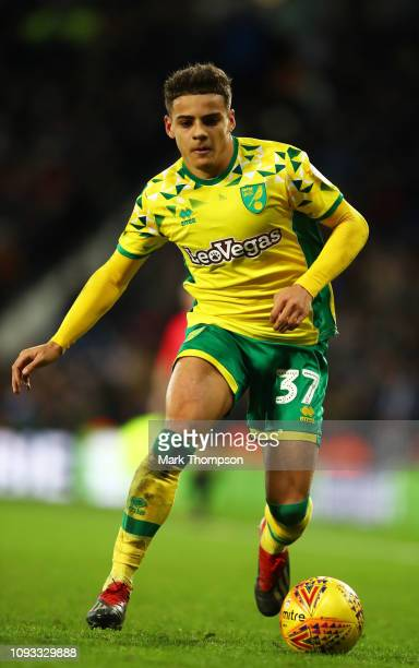 Max Aarons of Norwich City in action during the Sky Bet Championship match between West Bromwich Albion and Norwich City at The Hawthorns on January...