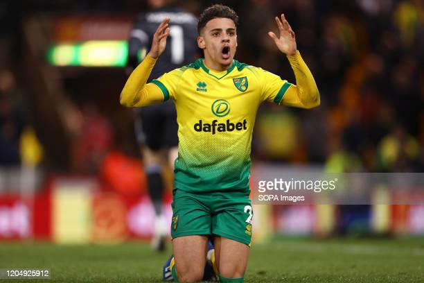Max Aarons of Norwich City reacts during the Premier League match between Norwich City and Leicester City at Carrow Road Final Score Norwich City 10...