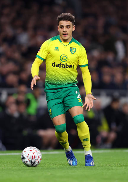 Max Aarons of Norwich in action during the FA Cup Fifth Round match between Tottenham Hotspur and Norwich City at Tottenham Hotspur Stadium on March...