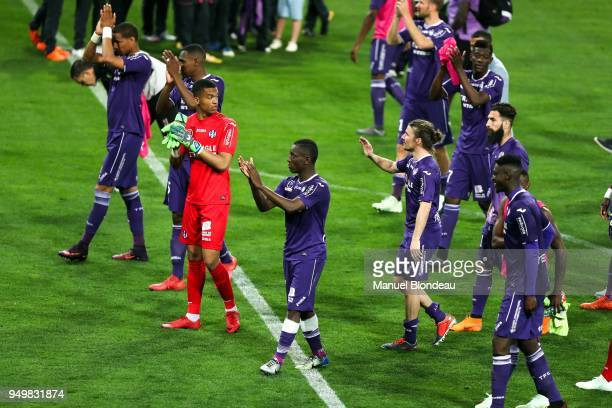 Max Alain Gradel and Alban Lafont and Yannick Cahuzac of Toulouse during the Ligue 1 match between Toulouse and Angers SCO at Stadium Municipal on...