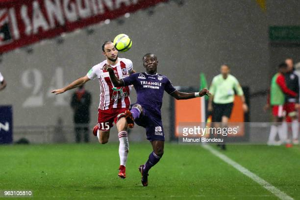 Max Alain Gradel of Toulouse and Jerome Hergault of Ajaccio during the Ligue 1 playoff match between Toulouse and AC Ajaccio on May 27 2018 in...