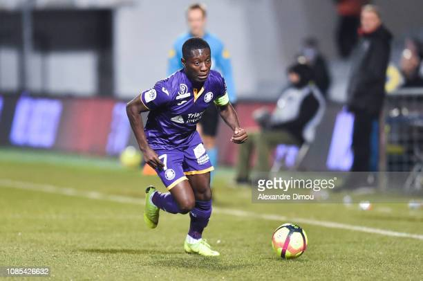 Max Alain Gradel of Toulouse during the Ligue 1 match between Nimes and Toulouse at Stade des Costieres on January 19 2019 in Nimes France