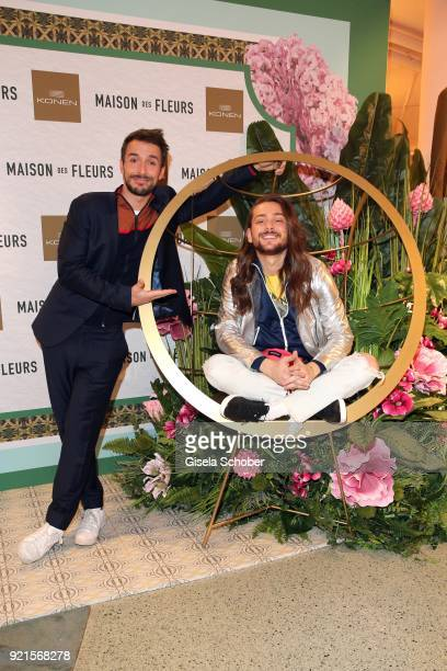 Max Alberti and Riccardo Simonetti during the 'Maison des Fleurs' photo session at KONEN on February 20 2018 in Munich Germany