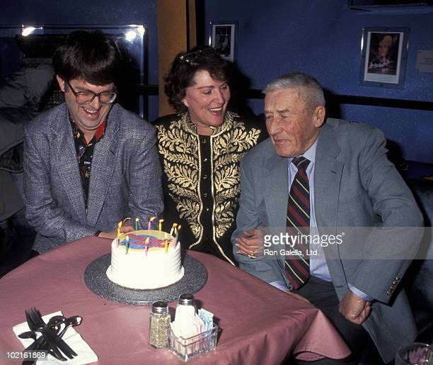 Max Allen Collins actress Majel BarrettRoddenberry and author Mickey Spillane attend the birthday party for SciFi Stars from Tekno Comix on February...