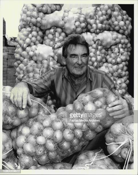 Max Allison manager of Parties Pty Ltd with onions he sells pictured at his Marrackville factory May 12 1987