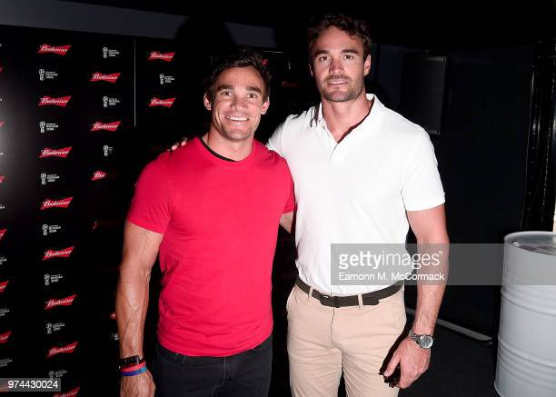 Max and Thom Evans on board the Bud Boat for the launch party hosted by Budweiser the Official Beer of the 2018 FIFA World Cup on June 14 2018 in...