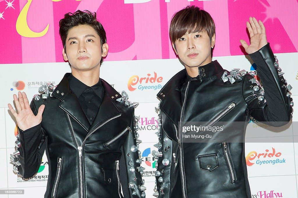 Max and U-Know of South Korean boy band TVXQ (Tohoshinki) attend the 2013 Hallyu Dream Concert on October 5, 2013 in Gyeongju, South Korea.