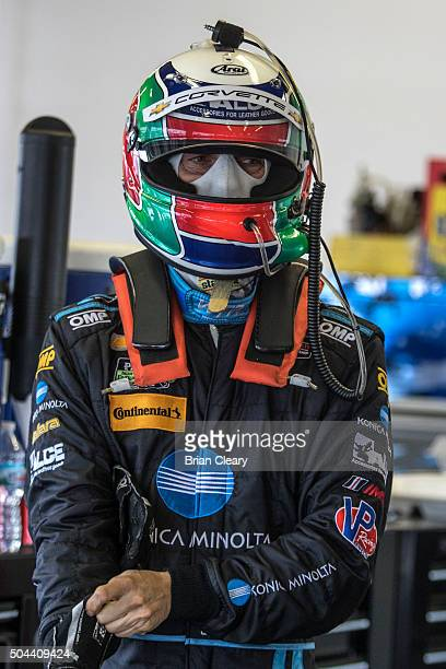 Max Angelelli prepares to drive during the Roar Before the 24 IMSA WeatherTech Series testing at Daytona International Speedway on January 10 2016 in...