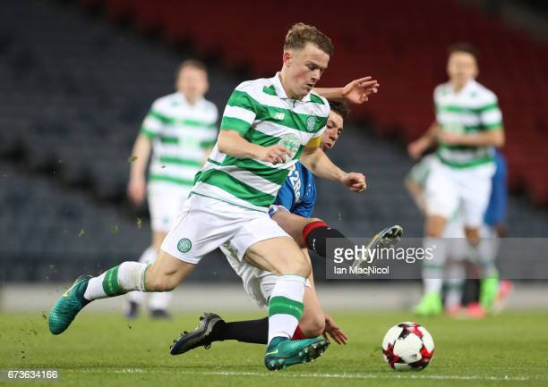 Max Ashmore of Rangers vies with Jordan Gibson of Rangers during The Scottish FA Youth Cup Final between Celtic and Rangers at Hampden Park on April...