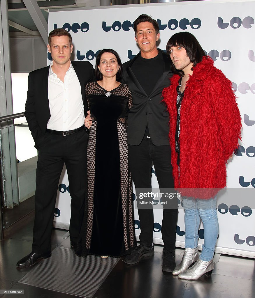 Max Bennett, Sadie Frost, Ben Charles and Noel Fielding attend the UK film premiere of 'Set The Thames On Fire' - on April 21, 2016 in London, United Kingdom.