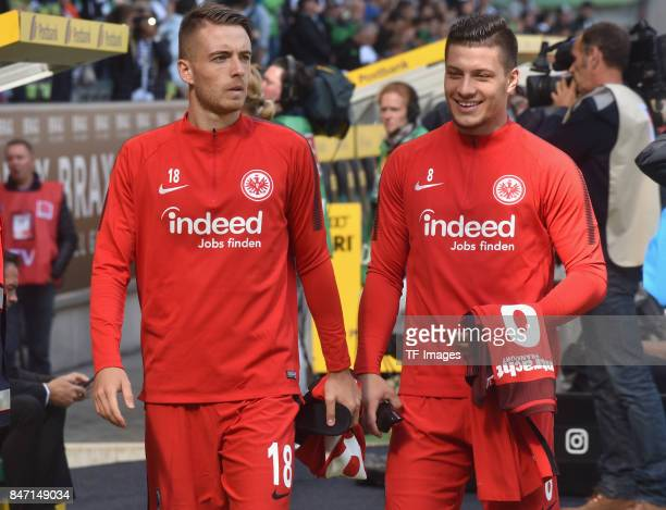 Max Besuschkow of Frankfurt and Luka Jovic looks on during the Bundesliga match between Borussia Moenchengladbach and Eintracht Frankfurt at...