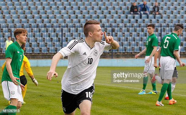 Max Besuschkow of Germany celebrates his goal during the UEFA Under17 Elite Round between Germany and Ireland at Stadion FC Obilic on March 28 2014...