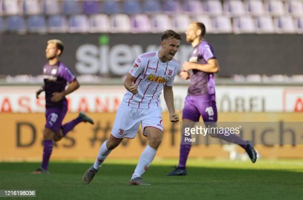 Max Besuschkow of Regensburg celebrates after scoring his sides second goal during the Second Bundesliga match between VfL Osnabrück and SSV Jahn...