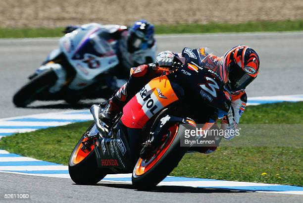 Max Biaggi of Italy and Honda in action during the Spanish MotoGP at the Circuito de Jerez on April 10 2005 in Jerez Spain