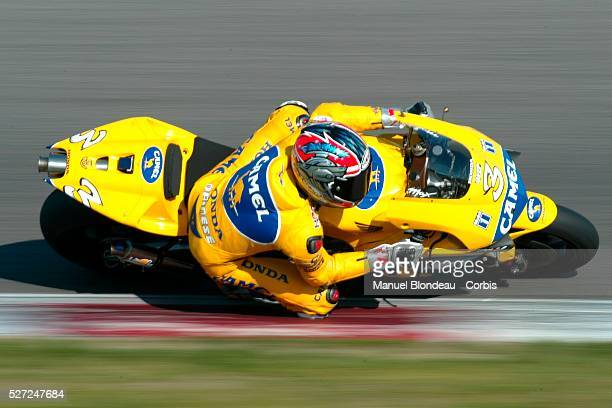 Max Biaggi of Team Honda Camel Pramac Pons during race action at the Moto GP test IRTA 2003 | Location Barcelona Spain