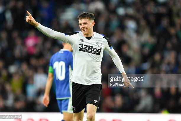 Max Bird of Derby County celebrates after scoring a goal to make it 1-0 during the Pre-season Friendly match between Derby County and Real Betis...