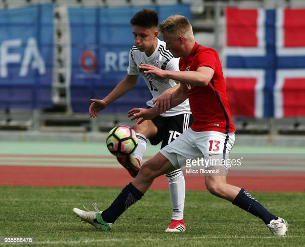 Max Brandt of Germany in action during the Germany vs Norway U17 at Pampeloponnisiako Stadium on March 21 2018 in Patras Greece