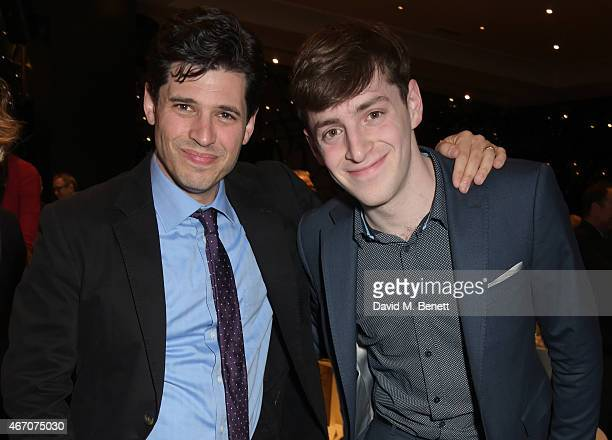 Max Brooks and Alex Edelman attend the Mel Brooks BFI Fellowship Dinner at The May Fair Hotel on March 20 2015 in London England