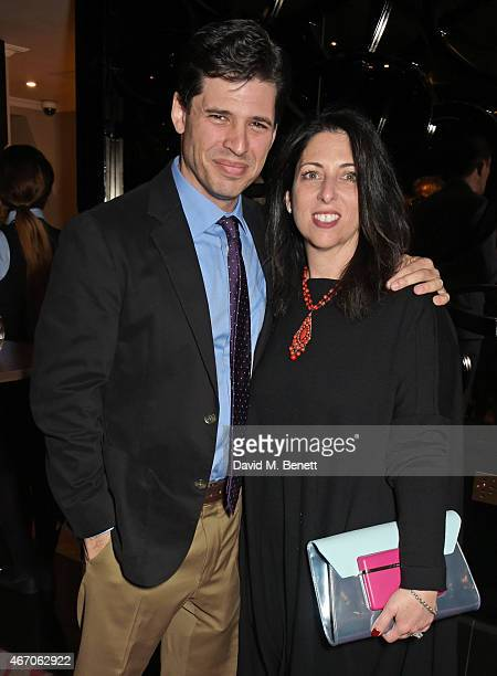 Max Brooks and wife Michelle Kholos attend the Mel Brooks BFI Fellowship Dinner at The May Fair Hotel on March 20 2015 in London England