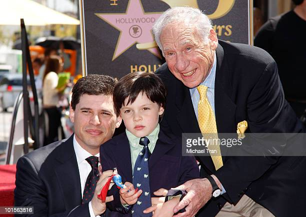 Max Brooks his son Henry and Mel Brooks attend the Hollywood Walk Of Fame star ceremony honoring Mel Brooks on April 23 2010 in Hollywood California