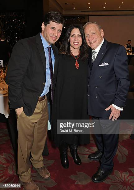 Max Brooks Michelle Kholos and Mel Brooks attend the Mel Brooks BFI Fellowship Dinner at The May Fair Hotel on March 20 2015 in London England