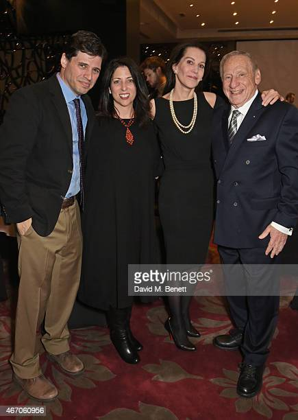 Max Brooks Michelle Kholos Countess Sondes and Mel Brooks attend the Mel Brooks BFI Fellowship Dinner at The May Fair Hotel on March 20 2015 in...