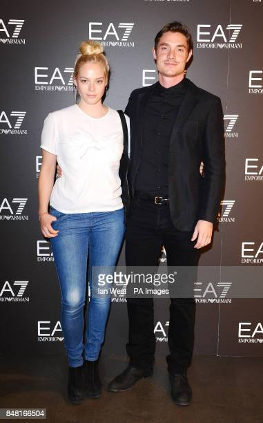 Max Brown and Annabelle Horsey arriving at the Emporio Armani Summer Garden Live 2012 at Emporio Armani New Bond London