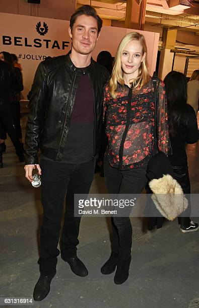 Max Brown and Annabelle Horsey attend the Belstaff presentation during London Fashion Week Men's January 2017 collections at Ambika P3 on January 9...