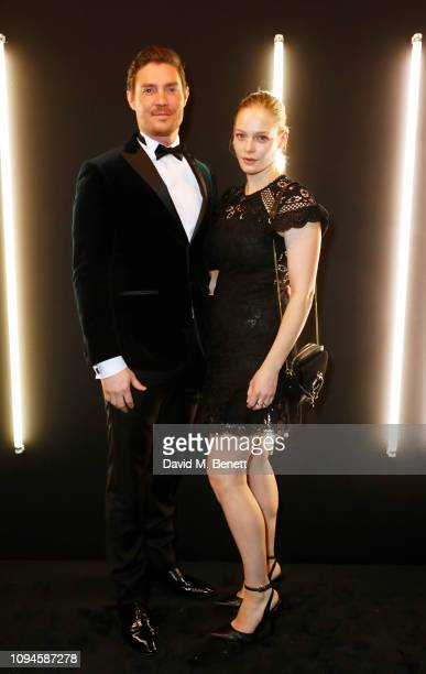 Max Brown and Annabelle Horsey attend the dunhill PreBAFTA dinner at dunhill Bourdon House on February 6 2019 in London England
