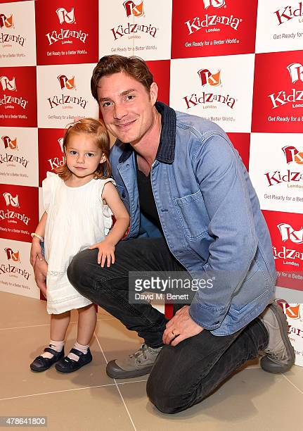 Max Brown and daughter Lyla Primrose attend a tea party to celebrate the launch of KidZania London at Westfield London on June 26 2015 in London...