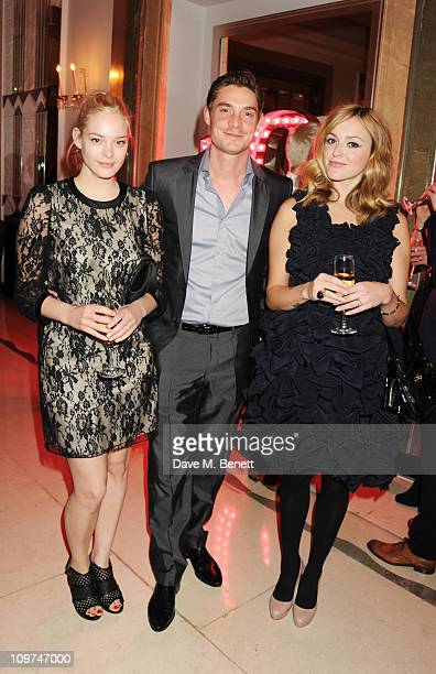 Max Brown with Annabelle Horsey and Fearne Cotton attend the Glamour 10th Birthday Dinner at Claridges on March 3 2011 in London England