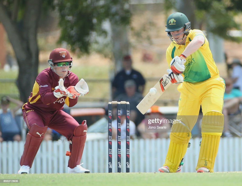 Max Bryant of the CA XI plays a shot during the JLT One Day Cup match between Queensland and the Cricket Australia XI at Allan Border Field on September 29, 2017 in Brisbane, Australia.