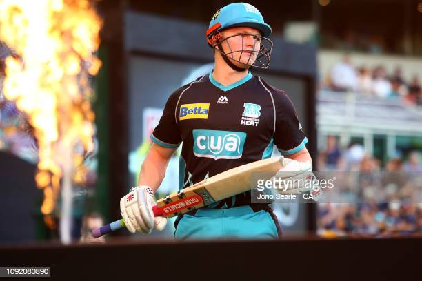 Max Bryant of the Heat arrives the the ground during the Big Bash League match between the Brisbane Heat and the Melbourne Renegades at The Gabba on...